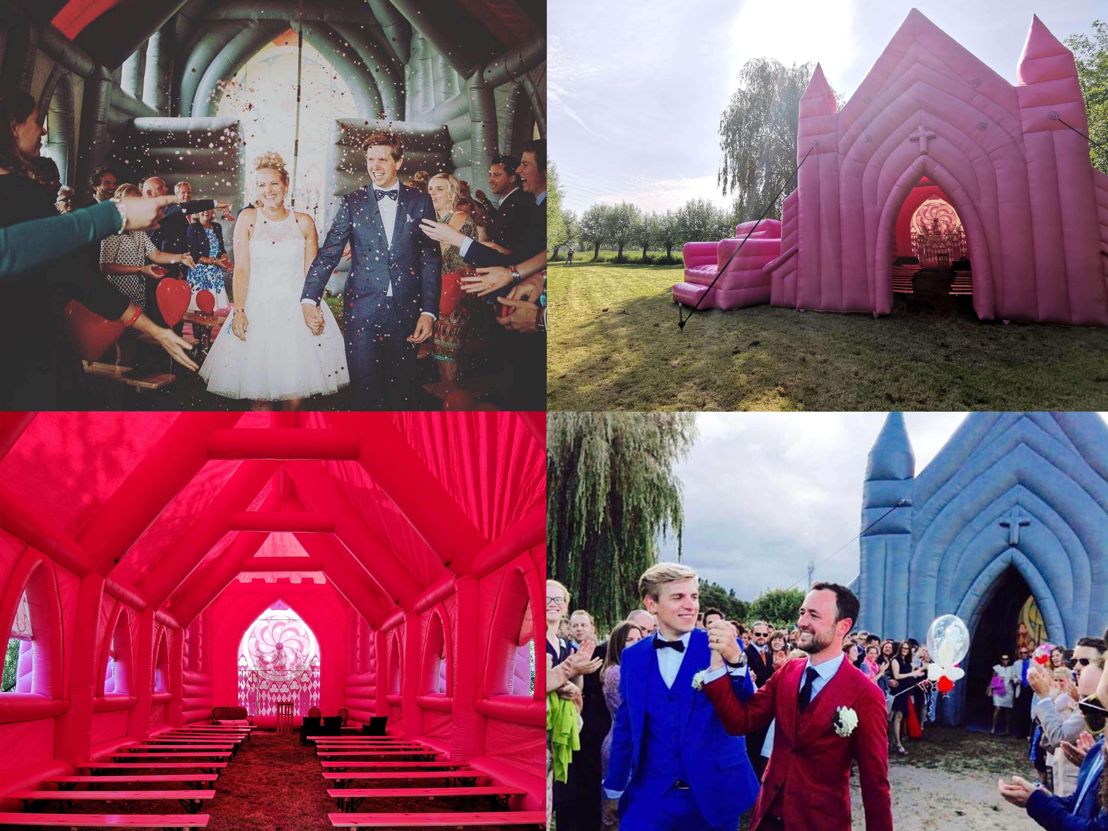 Trouwen in een roze kerk